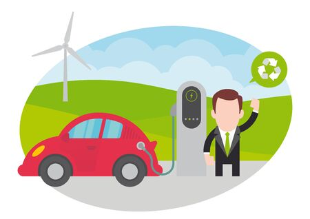 Vector man charging a red electric car in nature. Simple cartoon graphic. Isolated on white background
