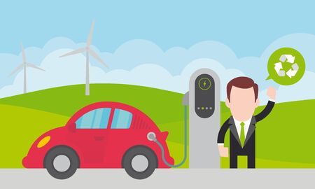Vector man charging a red electric car in nature. Simple cartoon graphic.