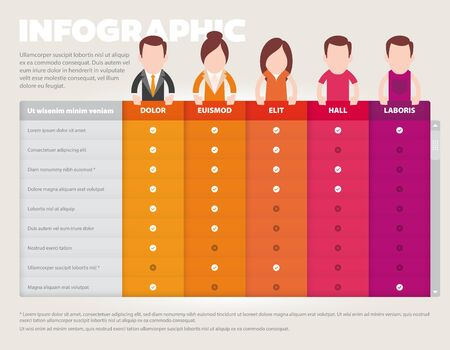 Vector infographics cards for comparing people, products with descriptions