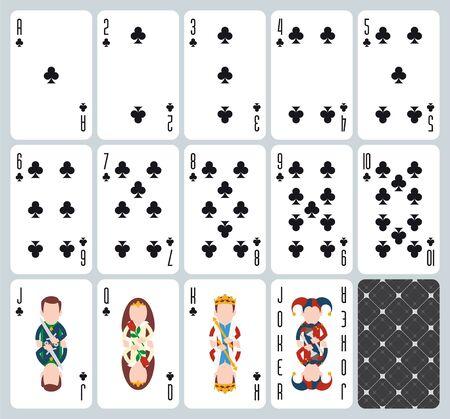 Poker playing cards of Clubs suit. Blue background. Original design deck. Vector illustration