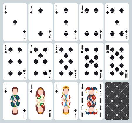 Poker playing cards of Spades suit. Blue background. Original design deck. Vector illustration