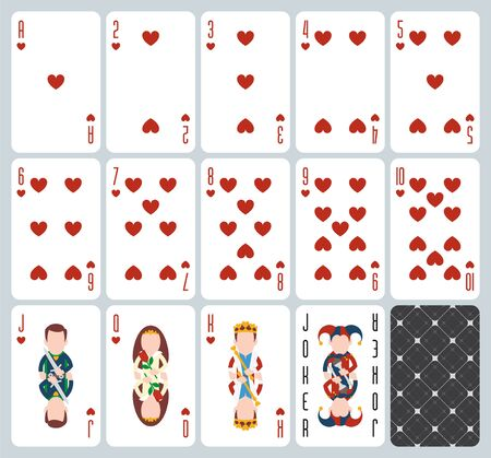 Poker playing cards of Hearts suit. Blue background. Original design deck. Vector illustration