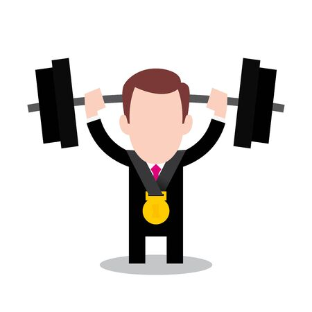 Vector businessmen cartoon character lifting dumbbell with medal. Isolated white background.