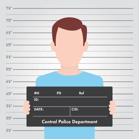 Plantilla de vector Formación de la policía. Mugshot de vista frontal. Hombre con un cartel.