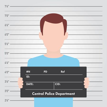 Vector template Police lineup. Front-View Mugshot. Man holding a sign.