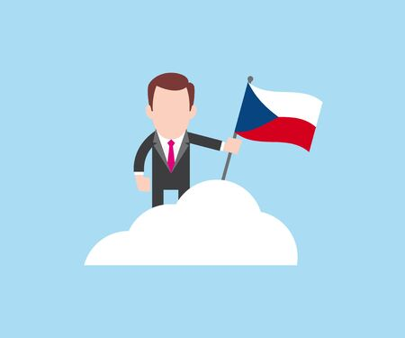 Business standing on top of cloud with Czech Republic flag in hand