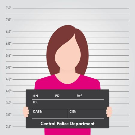 Vector template Police lineup. Front-View Mugshot. Woman holding a sign.