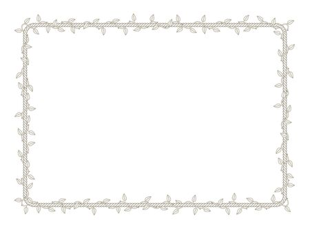 Vector rectangle rope frame overgrown with plant with thorns and leaves. White background