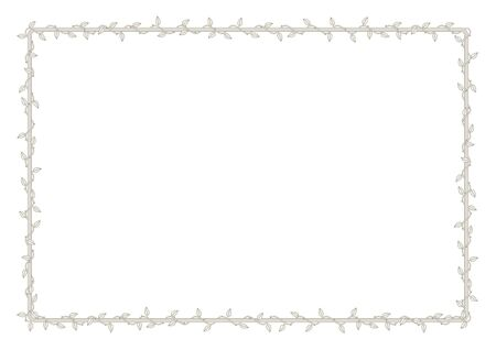 Vector frame overgrown with plant with thorns and leaves. White background Vektorové ilustrace