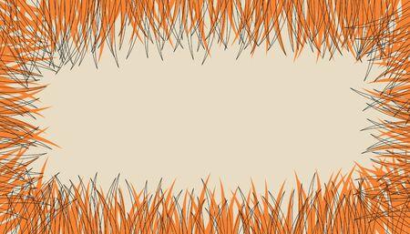 Template frame with texture autumn grass