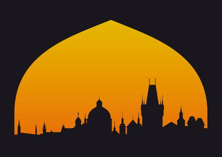 Vector silhouette of Prague with sunset