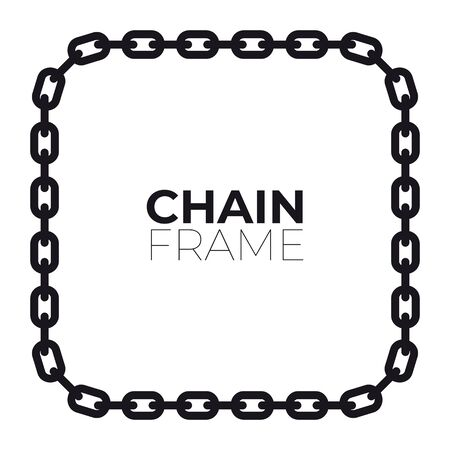 Vector frame chain emblem with text. White background.