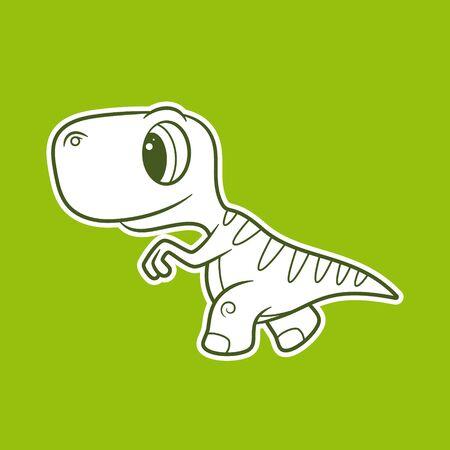 Vector funny cartoon sticker baby Dinosaur. Green background. Illustration