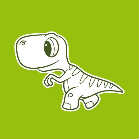 Vector funny cartoon sticker baby Dinosaur. Green background. Ilustração