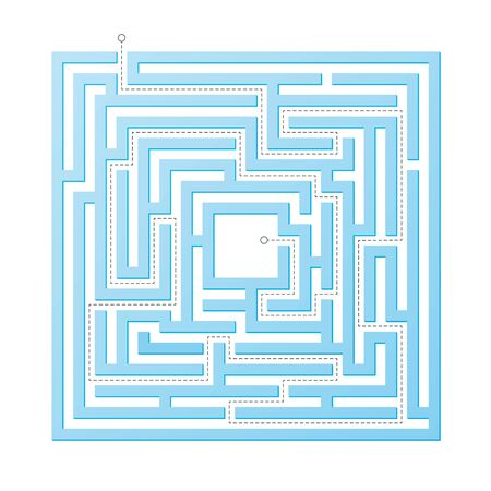 Vector educational square maze game. Labyrinth with right way.