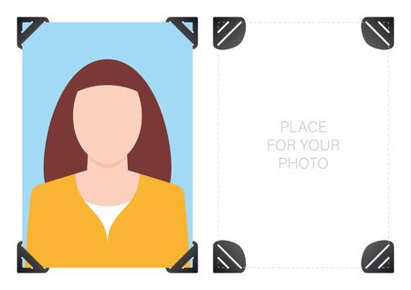 Vector template photography with self-adhesive corners