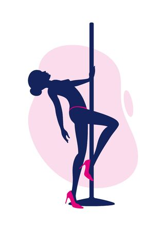 Vector silhouette of sexy girl pole dance and flirt dance. Isolated on white background. Illustration