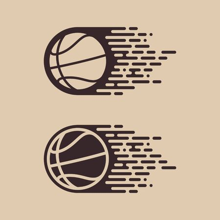 Vector simple flying basketball.