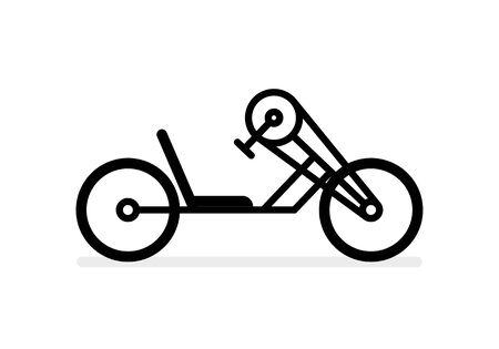 Vector black handbike line icon. Isolated on white background.
