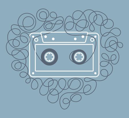 Vector stylized line old compact audio cassettes with heart shaped tape. Isolated on blue background