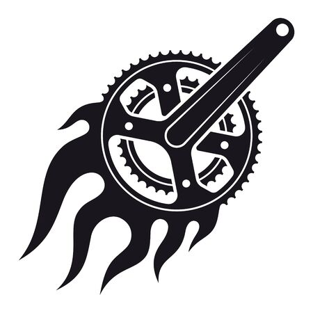 Vector black burning bicycle crank. Isolated on white background.