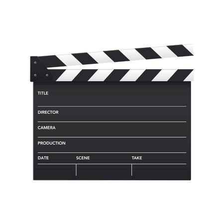 Realistic vector open movie flap isolated on white background Ilustración de vector