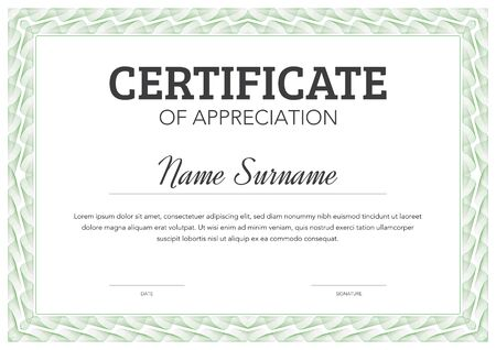 Horizontal format certificate template in classical style with ornamental frame Vector Illustratie