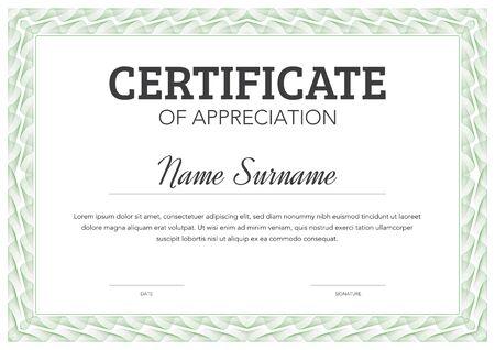 Horizontal format certificate template in classical style with ornamental frame Vektoros illusztráció