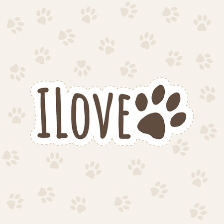 The inscription i love dog concept with paw print Ilustracja