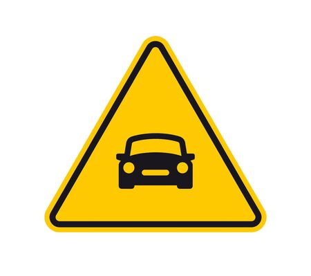 Vector yellow triangle sign - black silhouette car. Isolated on white background.