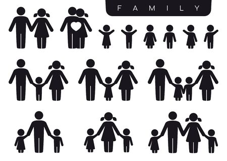 Vector black silhouette icon set family. Woman, man, partner, children, son, daughter. Isolated on white background. Vecteurs