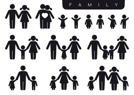 Famille de jeu d'icônes Vector silhouette noire. Femme, homme, partenaire, enfants, fils, fille. Isolé sur fond blanc. Vecteurs