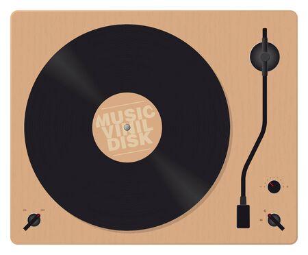 realistic vector wooden gramophone with vinyl disk Ilustração