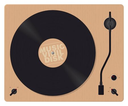 realistic vector wooden gramophone with vinyl disk Illustration