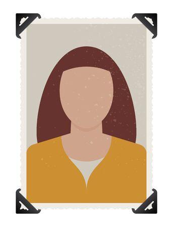 Vector template photography woman with self-adhesive corners Illusztráció