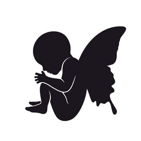 Vector black silhouette naked baby with butterfly wings. Isolated on white background.