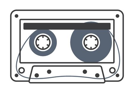 Vector stylized line old compact audio cassettes. Isolated on white background Illustration