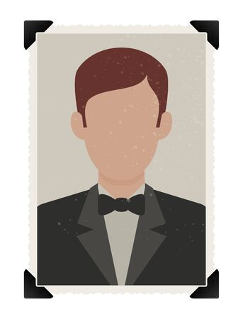 Vector template photography man with self-adhesive corners