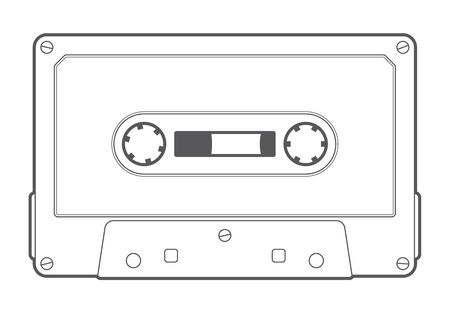 Vector line old compact audio cassettes. Isolated on white background