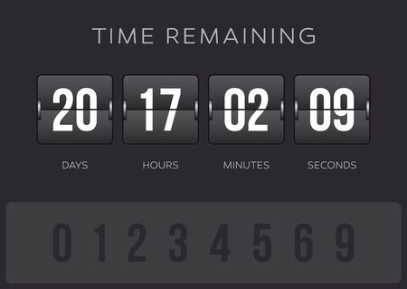Vector flip countdown clock counter timer - days, hours, minutes and seconds. Dark background.