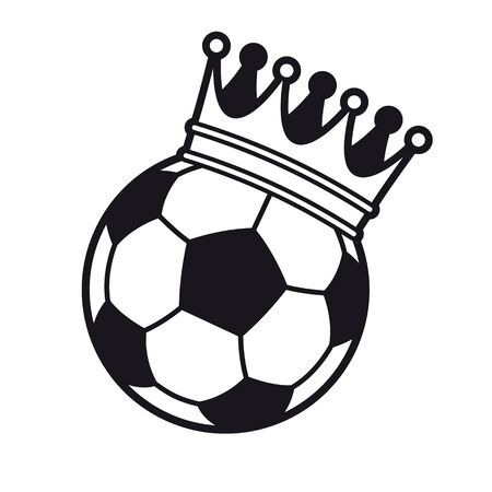 Vector black line football with royal crown. Isolated on white background background