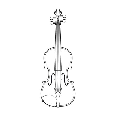 Vector black line Violin. Illustration. Isolated on white background.