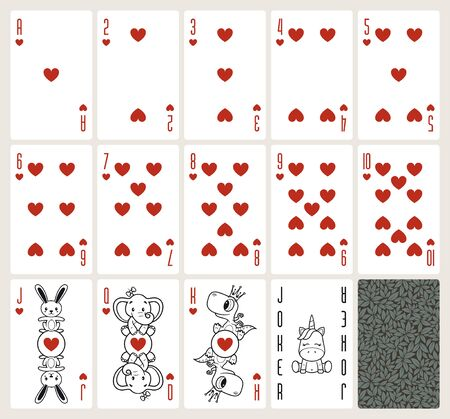 Vector baby poker playing cards with animals. Hearts suit. Original design deck. Vector illustration