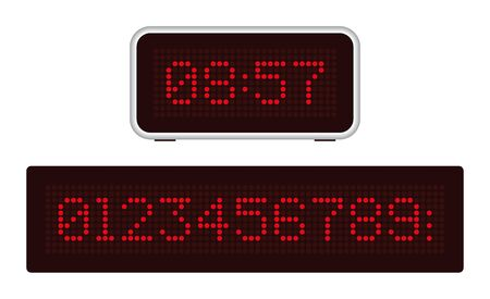 Retro digital clock with red point numbers. Dark background.