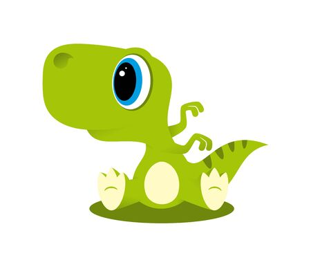 Vector funny cartoon sitting baby Dinosaur. Isolated on white background.