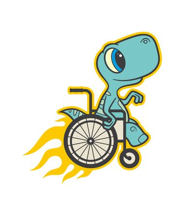 Vector colored sign sticker, handicap baby dinosaur seat on wheelchair. Speed with fire. Isolated on white background. Vector Illustration