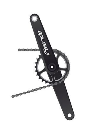 Vector dark realistic bicycle crank with chain and logo Freeride. Isolated on white background.  イラスト・ベクター素材