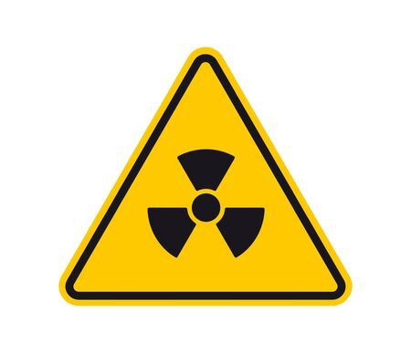 Vector yellow triangle sign - black silhouette radiation. Isolated on white background. Vettoriali