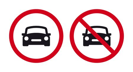 Vector red circle traffic sign - black silhouette car. Isolated on white background.  イラスト・ベクター素材