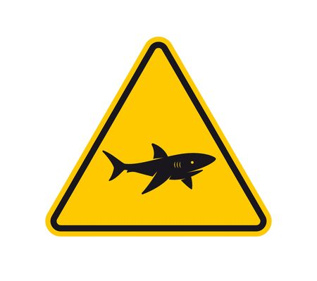 Vector yellow triangle sign - black silhouette road sign shark. Isolated on white background. 向量圖像